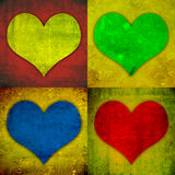 Valentine hearts. 4 different hearts on grungy background Royalty Free Stock Images