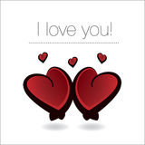 Valentine hearts. Pair of red shiny Valentine hearts together Stock Photos