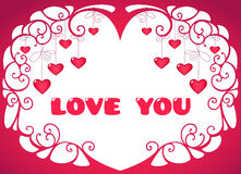 Valentine hearts. Valentine background with hanging hearts and text Royalty Free Stock Photos