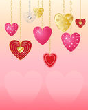 Valentine hearts. An illustration of decorative valentine hearts on gold and silver chains with candy pink background and space for text Royalty Free Stock Photography