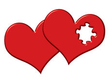 Valentine Hearts. With missing puzzle piece - 3 different clipping paths included Stock Photos