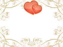 Valentine Hearts. Vector frame with glossy hearts and swirl pattern Royalty Free Stock Images