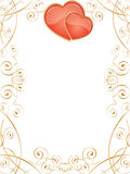 Valentine Hearts. Vector frame with glossy hearts and swirl pattern Stock Photos
