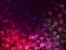 Valentine Hearts Abstract Red Background con bokeh Fotografia Stock Libera da Diritti