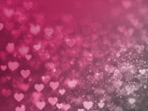 Valentine Hearts Abstract Red Background con bokeh Immagine Stock