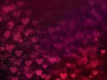 Valentine Hearts Abstract Red Background con bokeh Fotografia Stock
