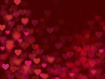 Valentine Hearts Abstract Red Background con el bokeh Foto de archivo