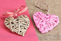 Valentine hearts background. Handmade Heart, Retro styled, vintage. Made of vine and paper on sackcloth, felt background Stock Photography