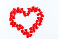 Valentine Hearts Background. Valentines Red Abstract Wallpaper. Backdrop Collage stock photo
