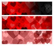 Valentine hearts banners Royalty Free Stock Image