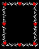 Valentine Hearts Black Border Royalty Free Stock Photography