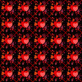 Valentine hearts on black seamless background Stock Images