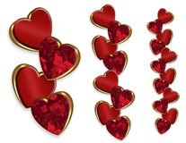 Valentine hearts fancy borders 3D-look royalty free illustration