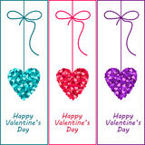 Valentine hearts with a bow. Heart valentine day illustration. Stock Photos