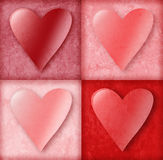 Valentine Hearts in Boxes. Four pink and red valentine love hearts are in 4 boxes with an old vintage background texture. Use it for love, friendship or Stock Photos