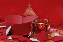 Valentine Hearts and Candle Royalty Free Stock Photos