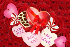 Valentine Hearts, candy & Flowers Stock Photos