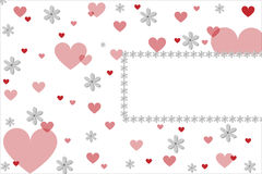 Valentine hearts card. A valentine card with hearts and flowers and a frame for your text.Useful as greeting-card or invitation.EPS file available Stock Images