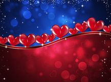 Valentine Hearts Celebration Background. Red and blue holiday celebration card with valentine hearts and blurry lights Royalty Free Stock Photos