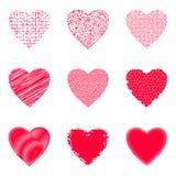 Valentine Hearts com testes padrões ilustração do vetor