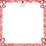 Valentine Hearts Frame Distressed Edges. Frame with distressed edges, with rings of Hearts, a bow over-white center Royalty Free Stock Image