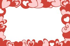 Valentine Hearts Frame White Background. Red and pink Valentine Hearts of Various designs, shapes and sizes frame white background Royalty Free Stock Images