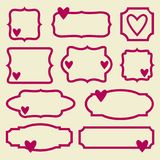 Valentine hearts frames set. Vintage hearts frames collection in pink and beige. Valentine`s day romantic vector illustrations set Royalty Free Stock Photography