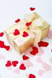 Valentine Hearts and Gift Box Stock Photo