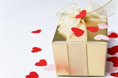Valentine Hearts and Gift Box Royalty Free Stock Photography