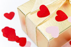 Valentine Hearts and Gift Box Macro Royalty Free Stock Images
