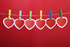 Valentine Hearts Hanging On Line Fotos de Stock Royalty Free