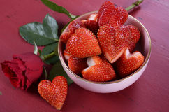 Valentine hearts hape strawberries with red rose Royalty Free Stock Image