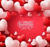 Valentine Hearts im roten Hintergrund mit glücklichen Valentinsgruß-Tagesgrüßen vektor abbildung
