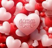 Valentine Hearts im roten Hintergrund mit glücklichen Valentinsgruß-Tagesgrüßen stock abbildung