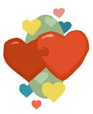 Valentine Hearts Linked. A romantic couple of red Valentine hearts linked together over a pastel green background with confetti hearts around. Vector greetings Royalty Free Stock Photography