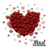 Valentine Hearts molle e liscio rosso nel giorno di biglietti di S. Valentino bianco del fondo Illustrazione realistica di vettor Fotografie Stock Libere da Diritti