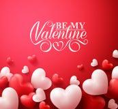 Valentine Hearts nel fondo rosso che galleggia con i saluti felici di giorno di biglietti di S. Valentino illustrazione vettoriale