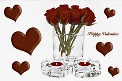 Valentine Hearts och rosor Arkivfoto