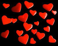 Valentine hearts over black royalty free stock images