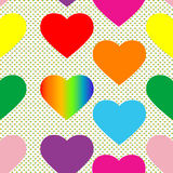 Valentine hearts pattern. Valentine's day pattern with colored hearts and pop art background Royalty Free Stock Image