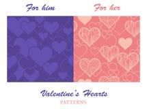 Valentine Hearts Patterns Stockfotos