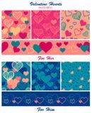 Valentine Hearts Patterns Collection Foto de archivo libre de regalías
