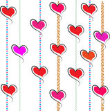 Valentine Hearts Pink red vertical lines white Background Stock Photography