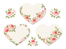 Valentine hearts with pink roses. Vector eps-10. Stock Image