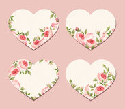 Valentine hearts with pink roses. Vector eps-10. Stock Photos