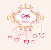 Valentine with hearts postcard Stock Photography