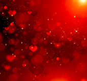 Valentine hearts red background Stock Photos
