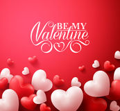 Valentine Hearts in Red Background Floating with Happy Valentines Day Greetings. Realistic 3D Colorful Romantic Valentine Hearts in Red Background Floating with Royalty Free Stock Photo