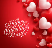 Valentine Hearts in Red Background Floating with Happy Valentines Day Greetings Stock Photo