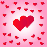 Valentine hearts. Red valentine hearts on pink background. Vector illustration Royalty Free Stock Photography